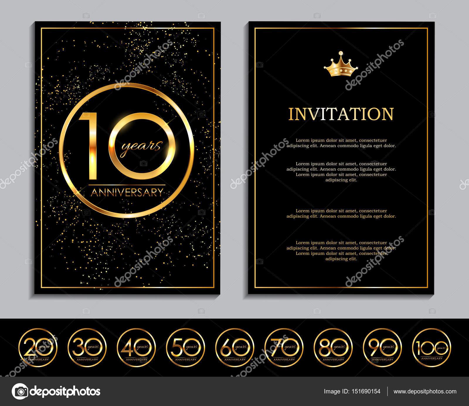Luxus-Vorlage-Satz der Jubiläums-Feier-Einladung-Vektor-Illustration ...