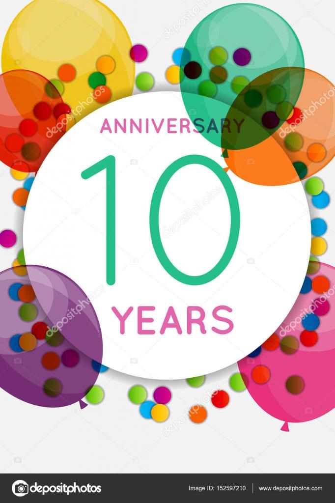 Sjabloon 10 Jaar Verjaardag Gefeliciteerd Wenskaart Uitnodiging