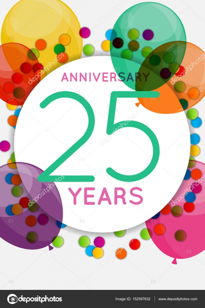 Sjabloon 25 Jaar Verjaardag Gefeliciteerd Wenskaart Uitnodiging