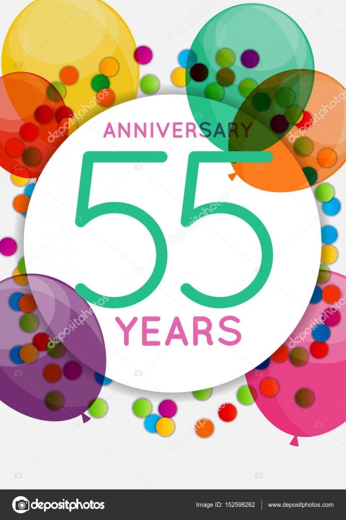 Sjabloon 55 Jaar Verjaardag Gefeliciteerd Wenskaart Uitnodiging