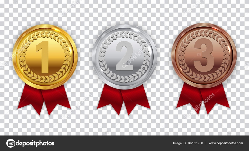 Champion Gold, Silver And Bronze Medal With Red Ribbon