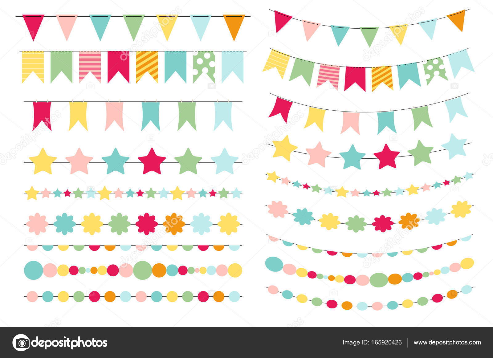 Party Flags, Buntings, Brushes for Creating a Party Invitation ...