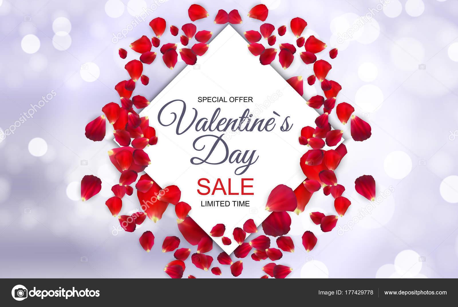 Valentines Day Verkoop Kaart Met Frame Vectorillustratie