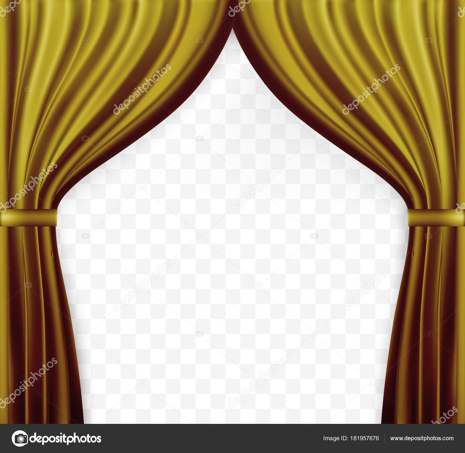 Naturalistic Image Of Curtain Open Curtains Gold Color On Transparent Background Vector Illustration