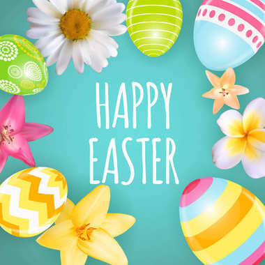 Happy Easter Cute Background with Eggs. Vector Illustration