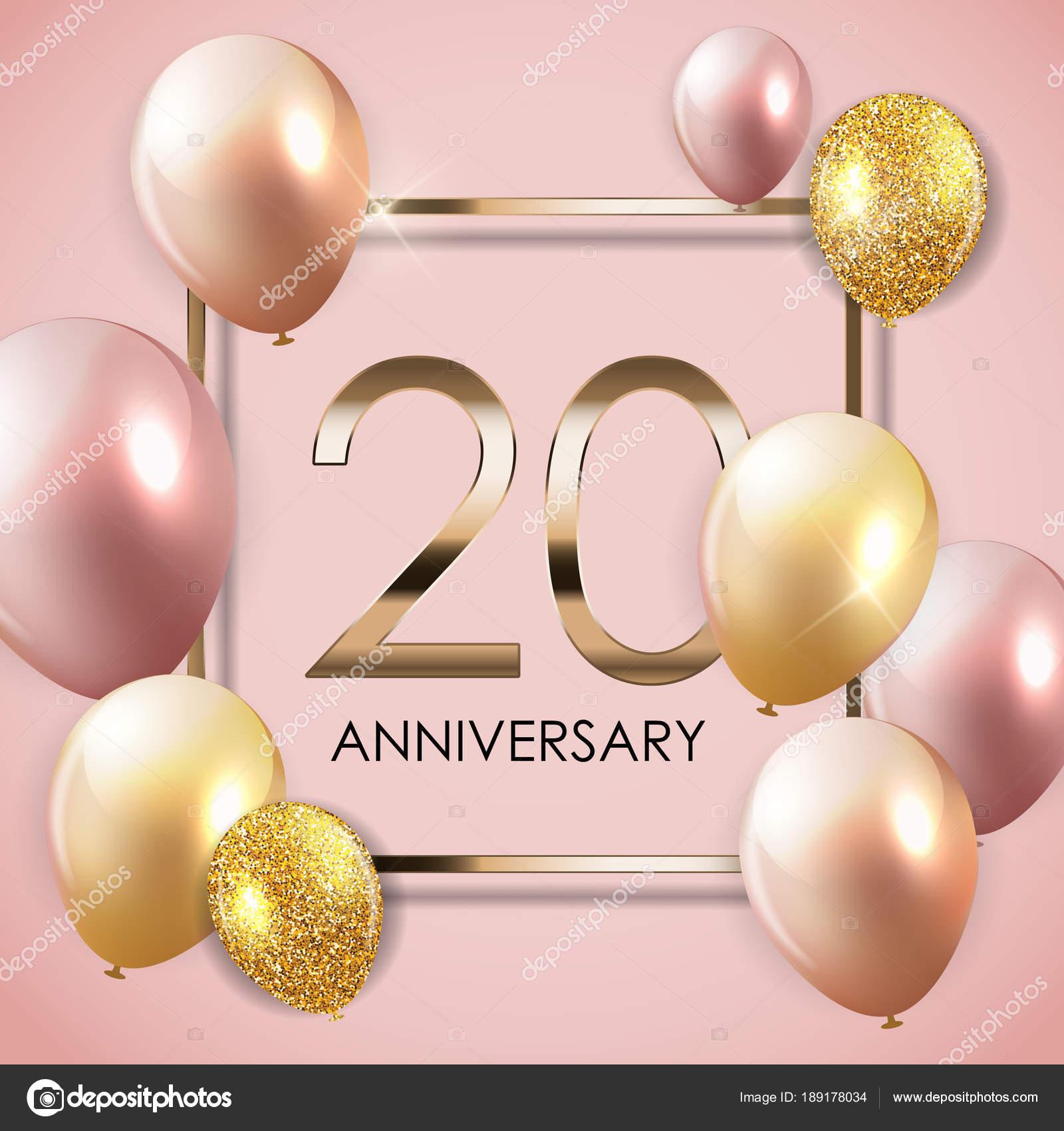 Sjabloon 20 Jaar Verjaardag Achtergrond Met Ballonnen
