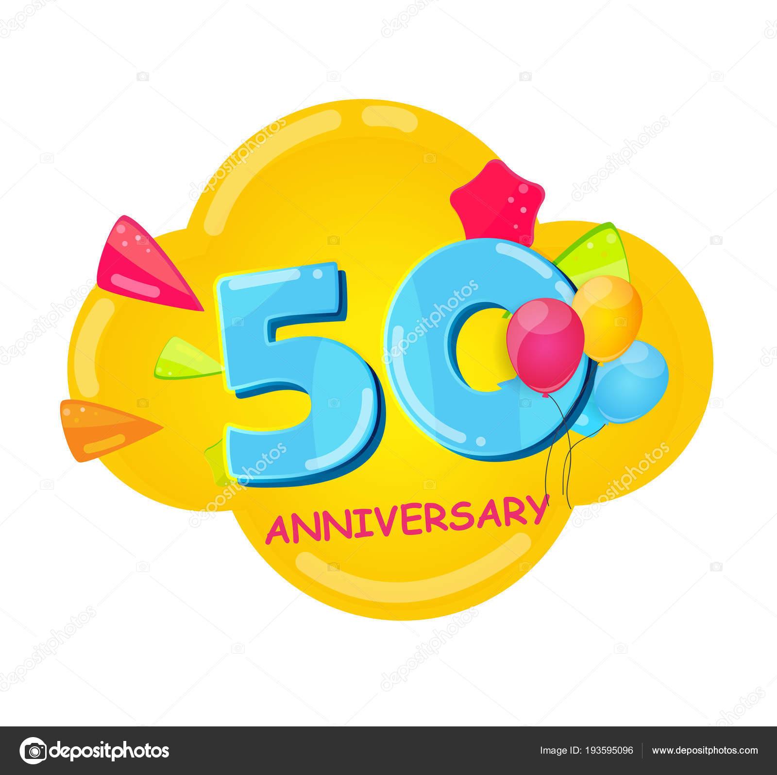 sjabloon 50 jaar Cute Cartoon sjabloon 50 jaar verjaardag vectorillustratie  sjabloon 50 jaar