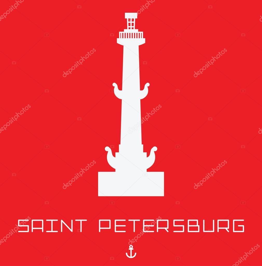 Saint Petersburg Rostral column vector line art illustration