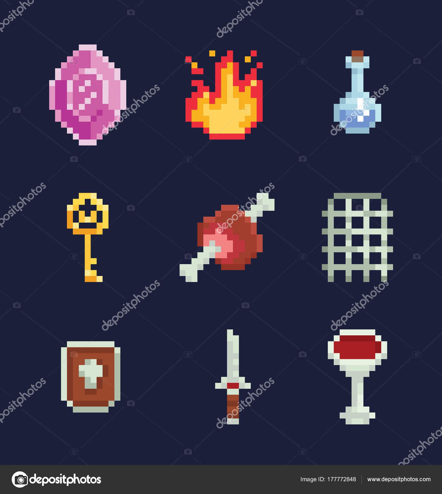 Vector pixel art illustration isons for fantasy adventure
