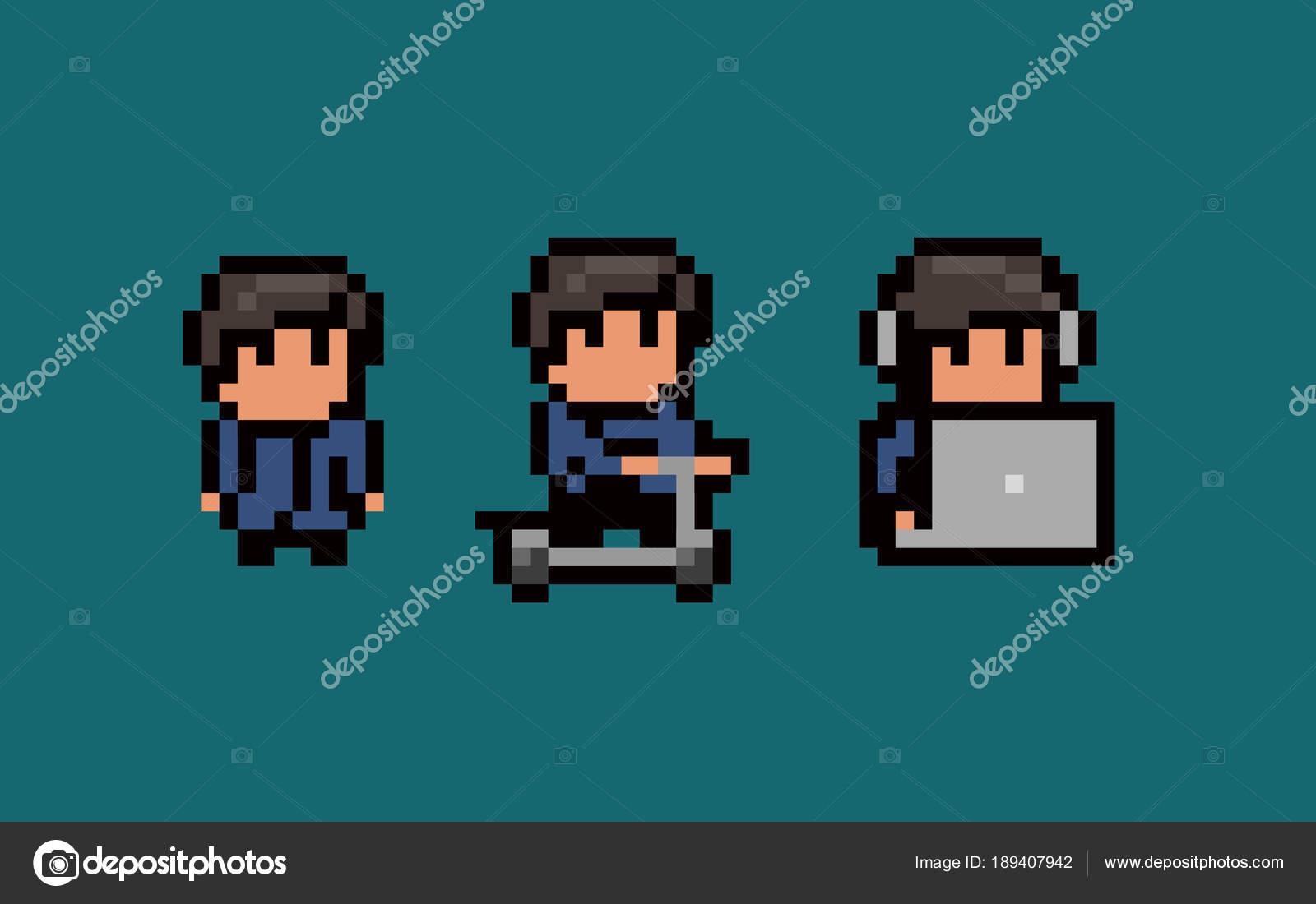 Trois Pixel Art Personnages Masculins Immobile à Laide D
