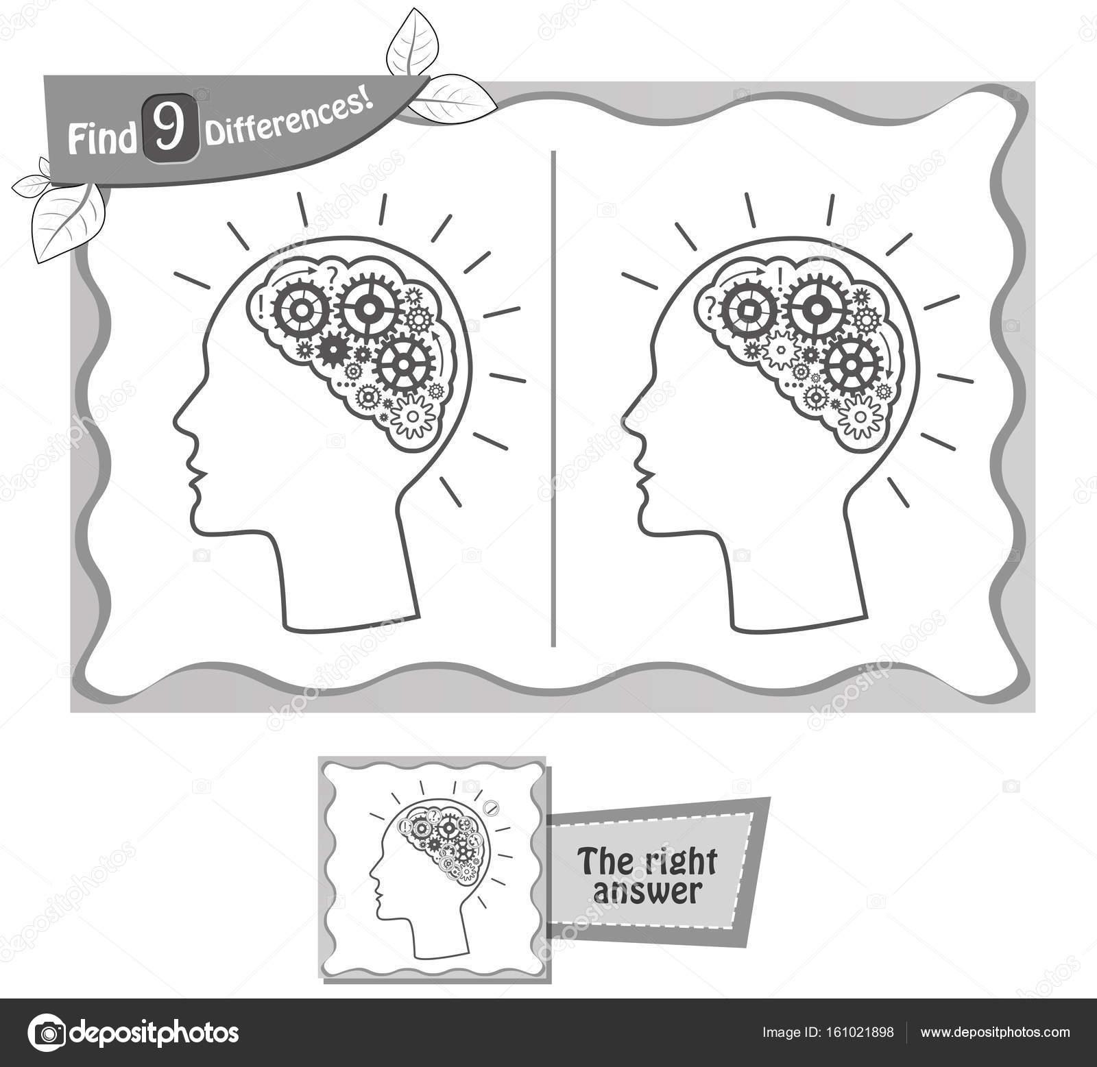 encontrar 9 diferencias cerebro negro juego — Archivo Imágenes ...