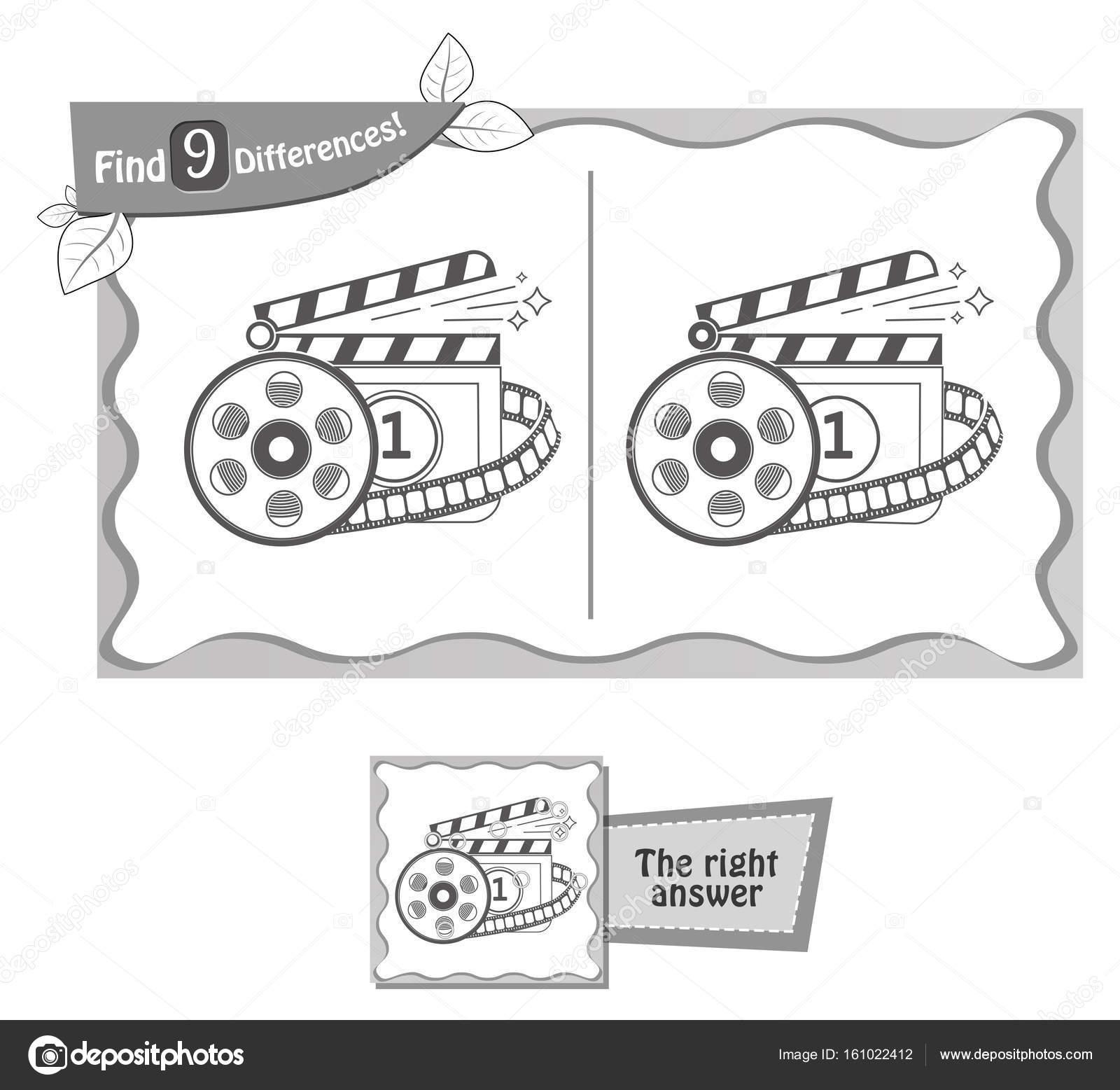 Encontrar 9 Cine Juego De Diferencias Archivo Imágenes Vectoriales