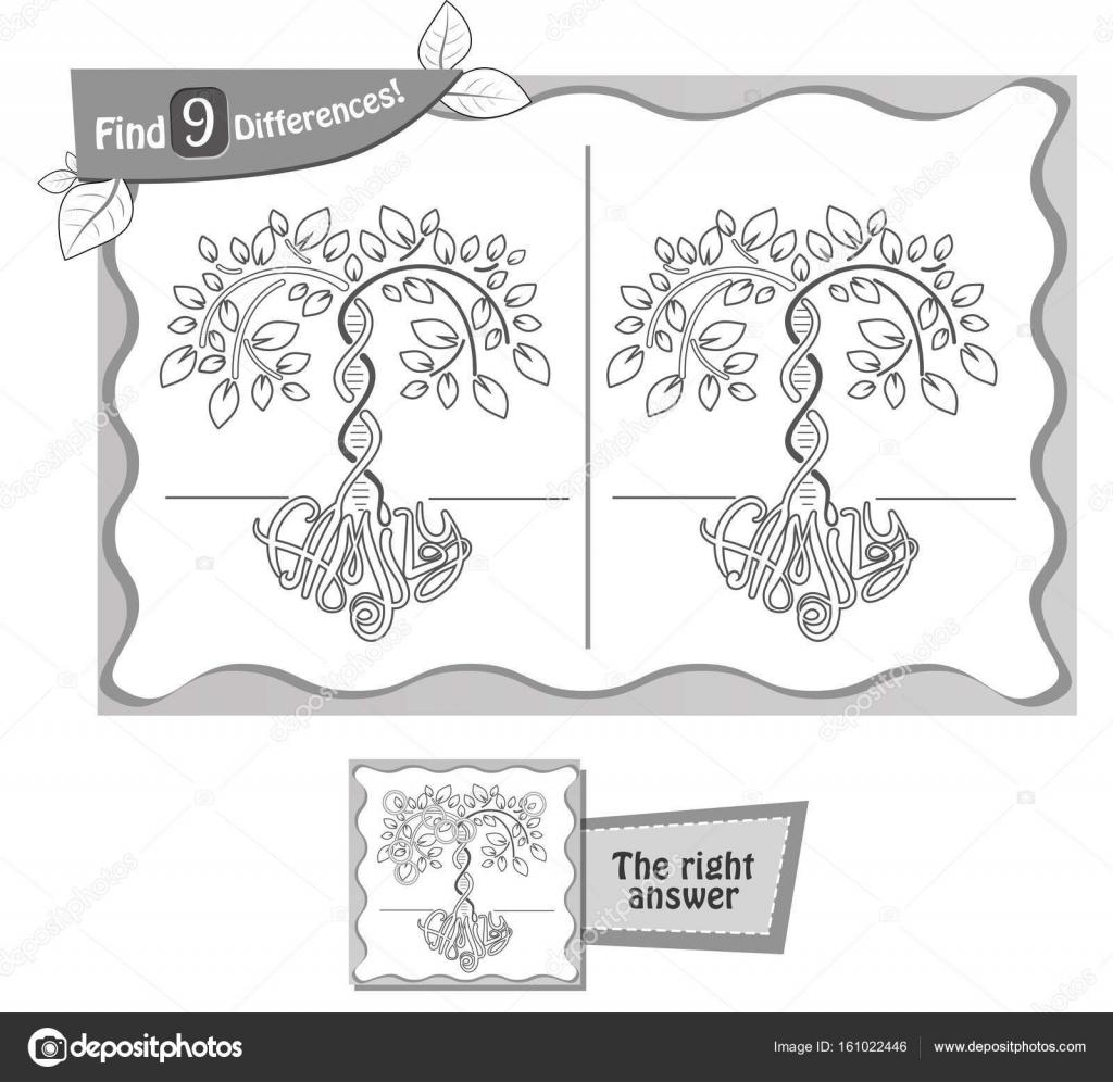 9 Farklılıklar Oyun Soy Ağacı Bulmak Stok Vektör Rodnikovay1