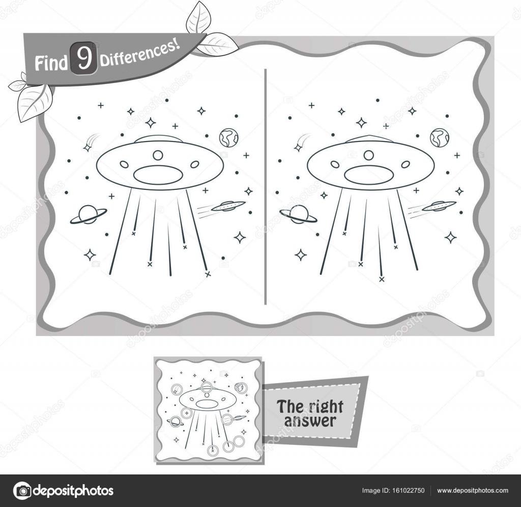 buscar juego negro 9 diferencias ufo — Vector de stock © rodnikovay1 ...