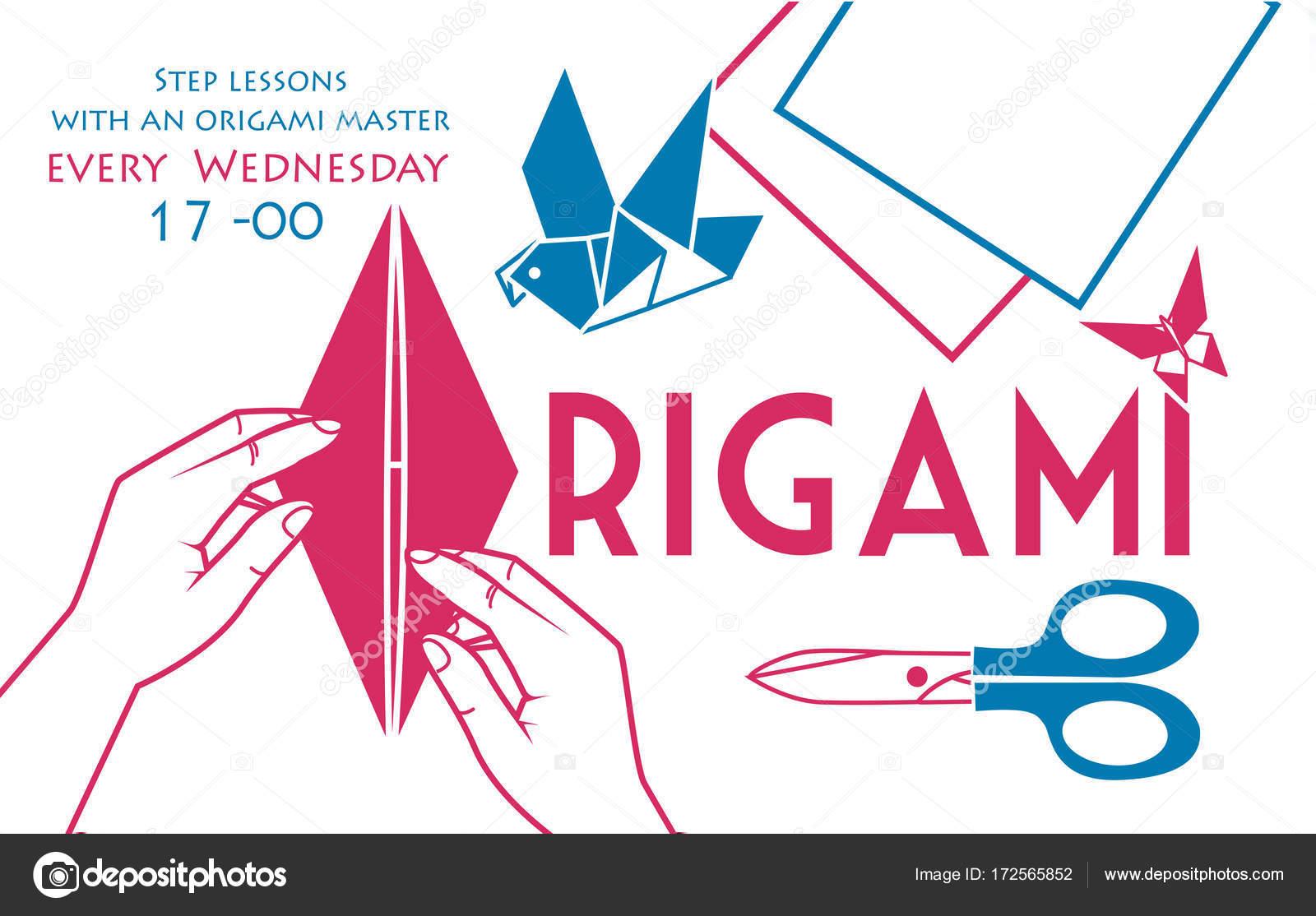 Banner, cubierta para colores de origami dos — Vector de stock ...