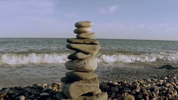 Stone tower on a seashore.