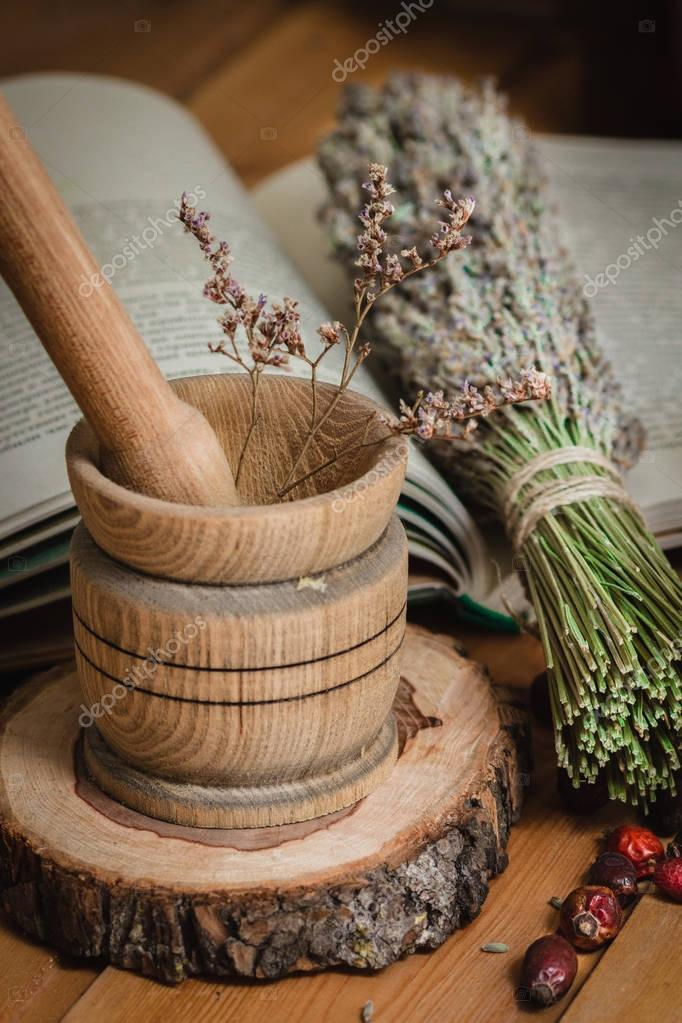 The composition from tools of natural healing herbs