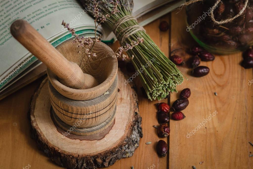composition from tools of natural healing herbs
