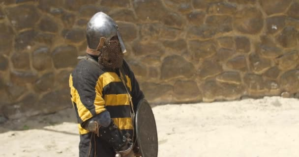 Warrior in armor with sword in hand is standing in the middle of arena