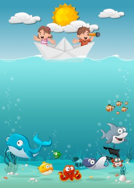 Kids inside a paper boat at the ocean with fish under water.