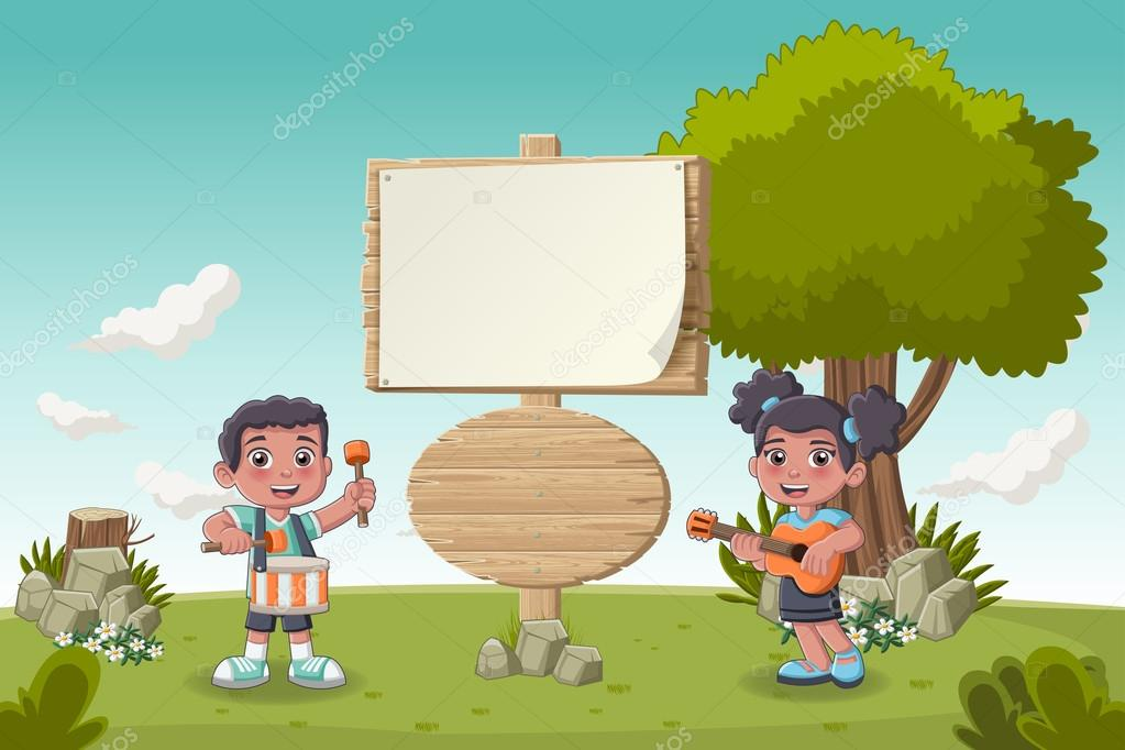cartoon children playing music