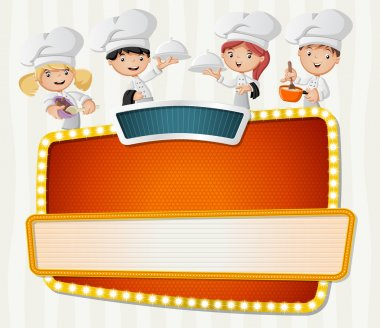 Vector banners backgrounds with cartoon chefs cooking and holding tray with food.