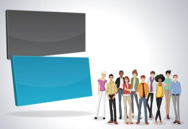 Vector banners / backgrounds with business people.
