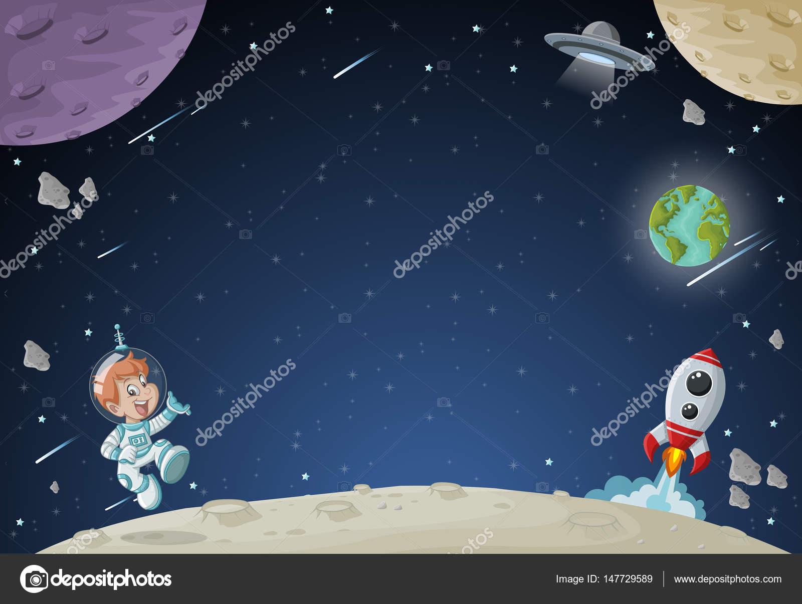 Cohete De Astronauta Y Vintage De Dibujos Animados: Niño De Dibujos Animados De Astronauta Volando En El