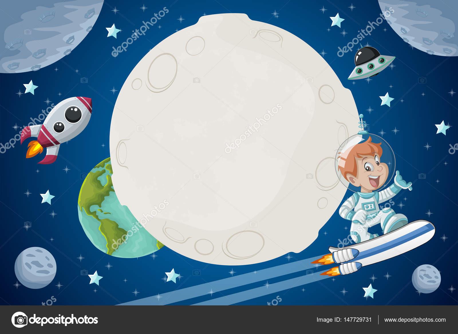 Niño Astronauta En El Espacio: Niño De Dibujos Animados De Astronauta Volando En El