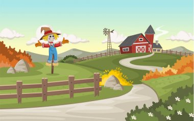 Cartoon farm with big barn
