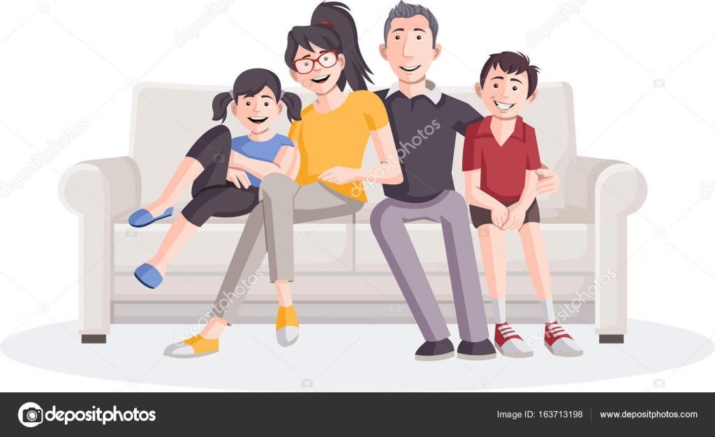 famille de dessin anim sur canap image vectorielle deniscristo 163713198. Black Bedroom Furniture Sets. Home Design Ideas