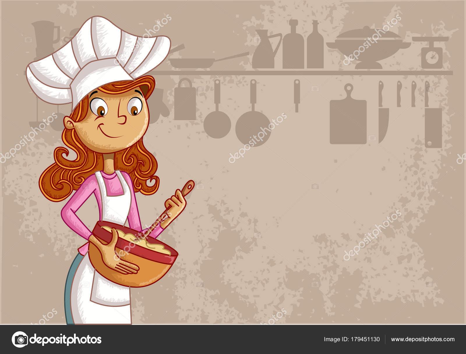 Chef Mujer Dibujos Animados Con Delantal Cocinar