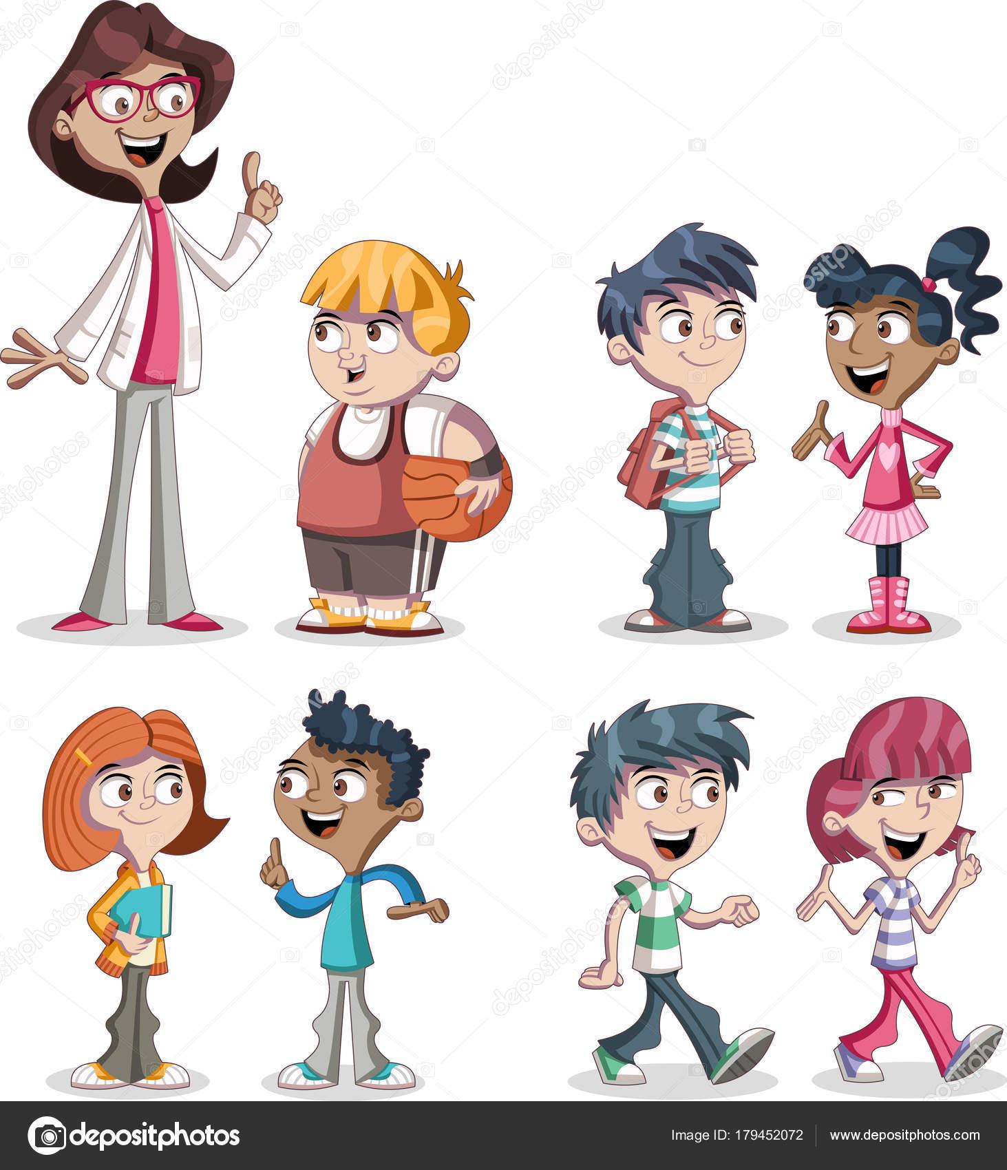 Roztomily Kresleny Deti Ucitele Dospivajici Studenty Stock Vektor