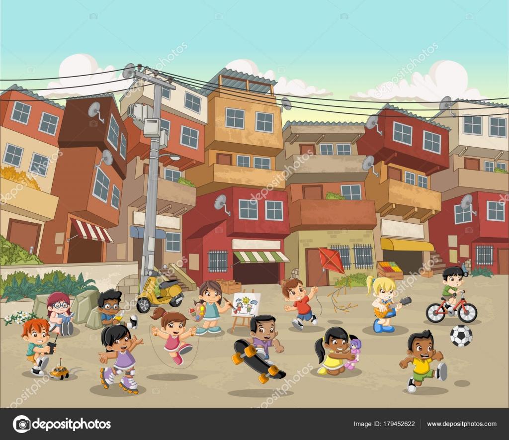 Imagenes Ninos Jugando En La Calle Dibujo Calle Barrio Pobre Con