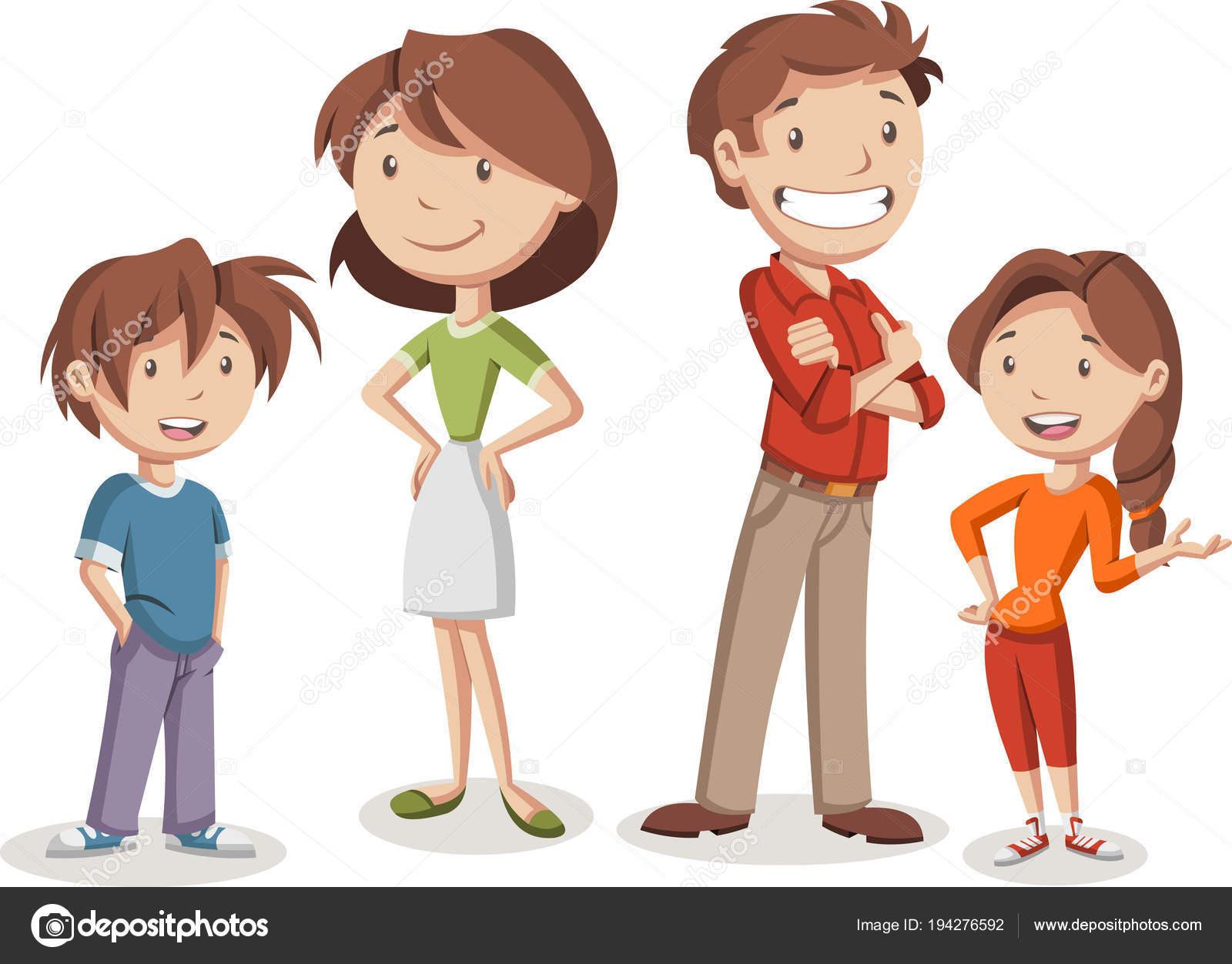 Gens heureux color s famille dessin anim image - Dessin anime de la famille pirate ...