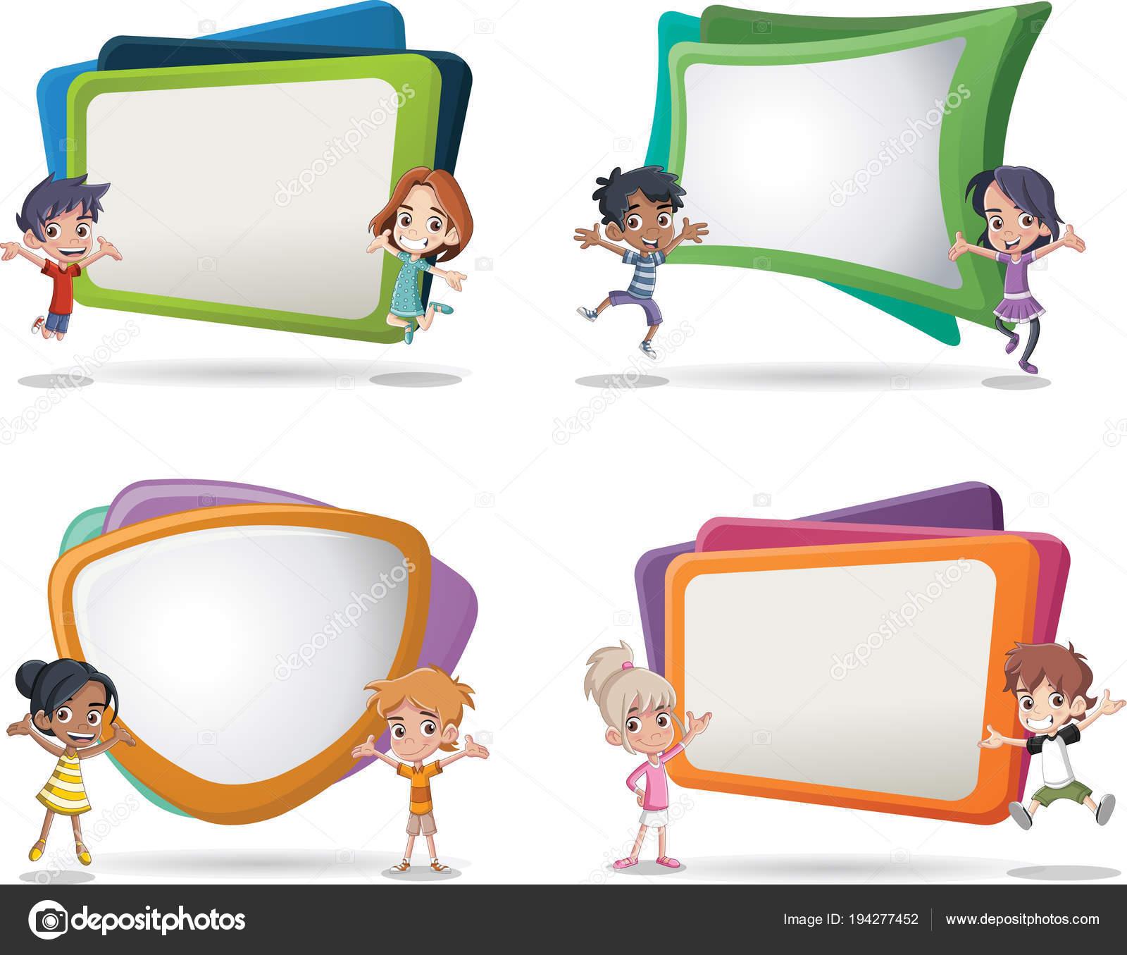 Vector Banners Backgrounds Cartoon Children Design Text Box Frames ...