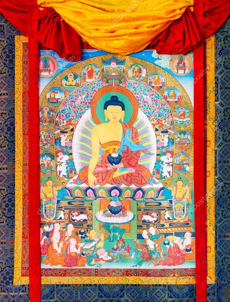 仏教タンカ、繊維にチベットの仏...