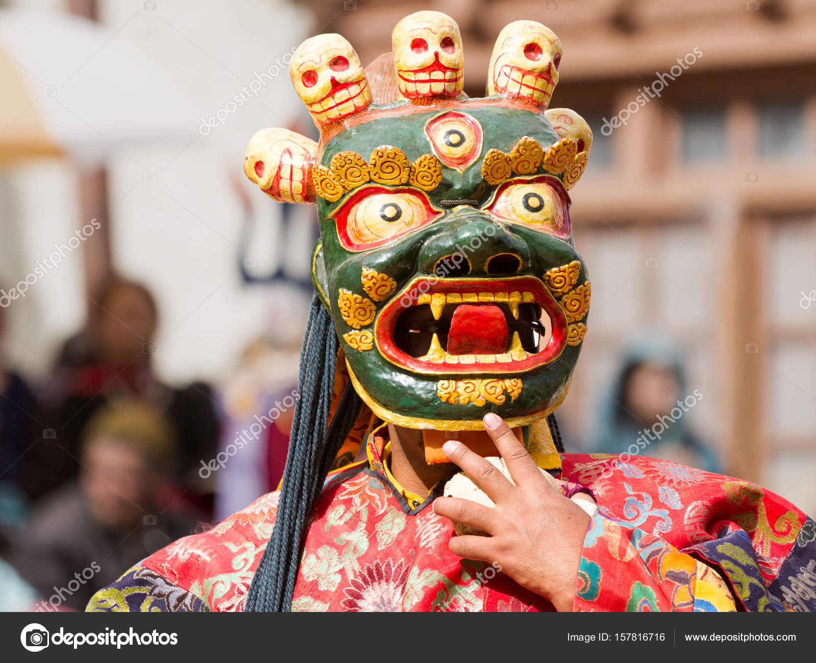 0bcd19819 Unidentified monk performs a religious masked and costumed mystery dance of  Tibetan Buddhism during the Cham