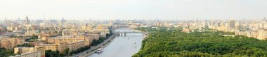 Moscow center panoramic view from above, Moscow river, bridges, Christ the Savior Cathedral, Monument to Peter I, , pleasure boats