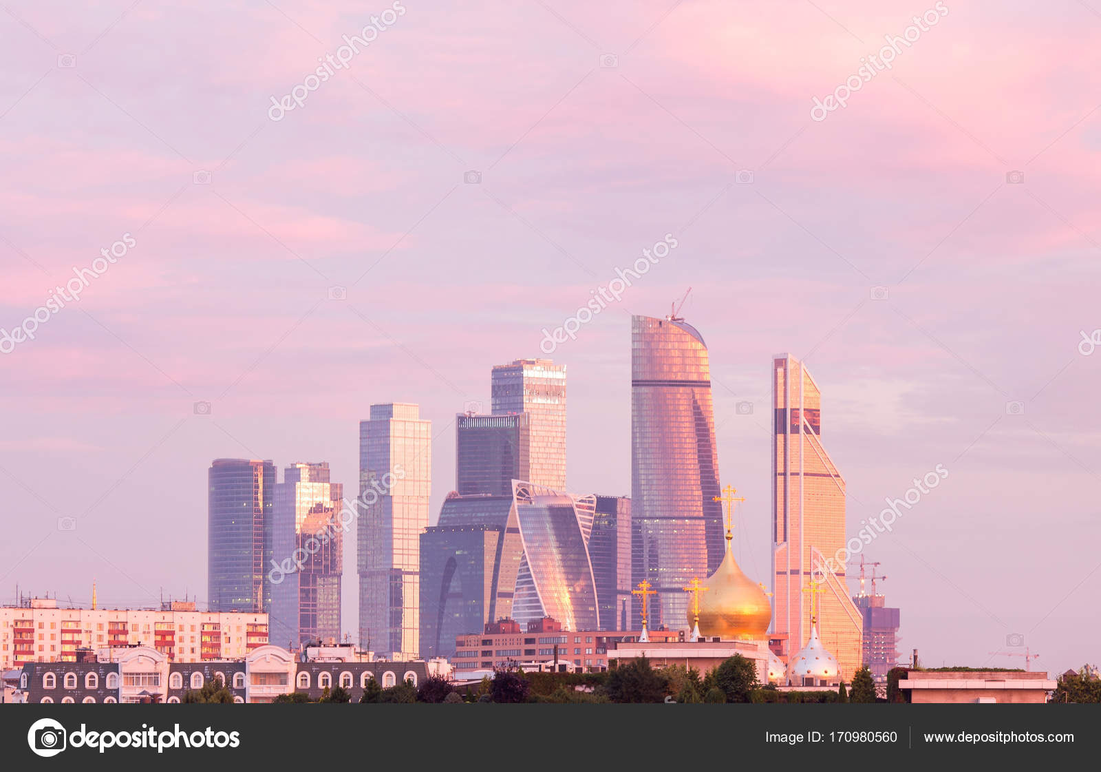 Panorama Moscow International Business Center Background Colorful