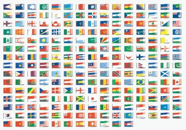 Textile Label Shaped Illustrated Flags of the World stock vector