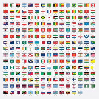 Projector Screnn Shaped Illustrated Flags of the World stock vector