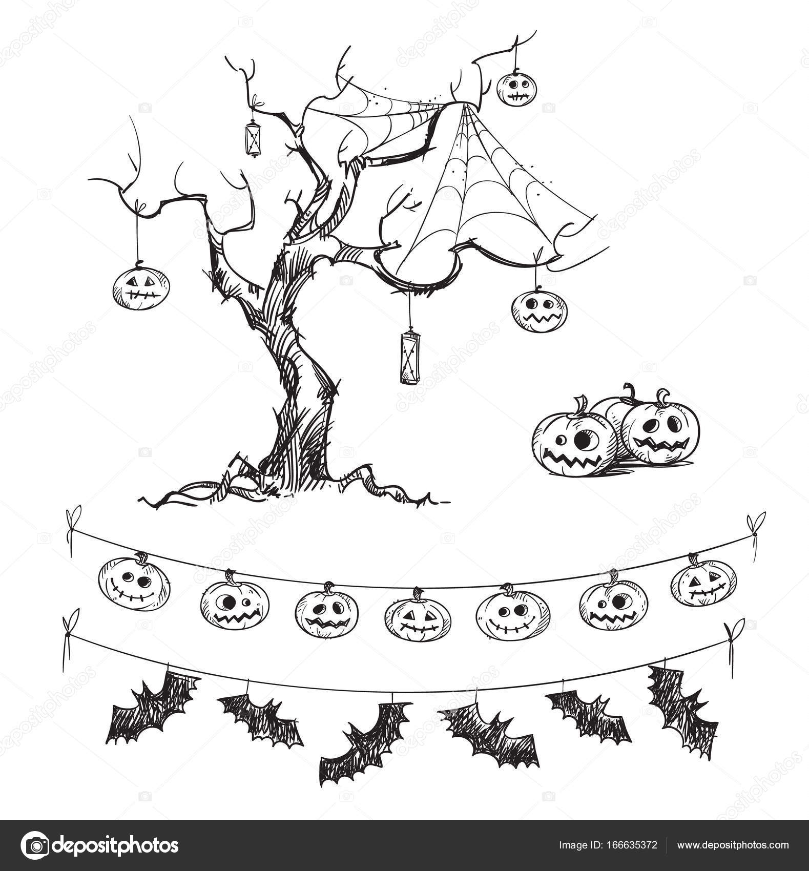 halloween drawings. carved pumpkins, lanterns, flags. — stock vector