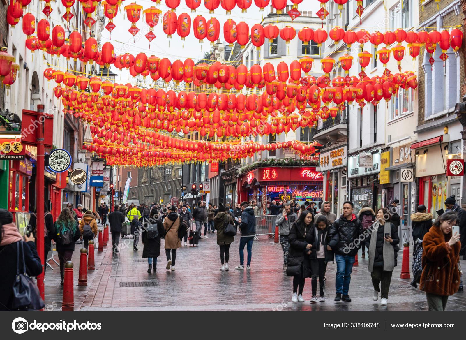 London January 26 2020 Chinese Paper Lanterns London Chinatown Chinese New Year Celebrations Stock Editorial Photo C Powerofflowers 338409748