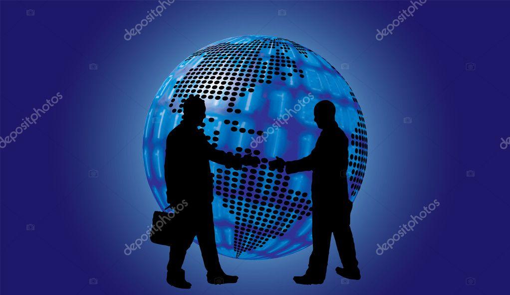 D image wallpaper | Shake hand digital globe background