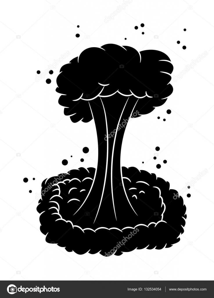 Mushroom cloud, nuclear explosion silhouette, vector ...