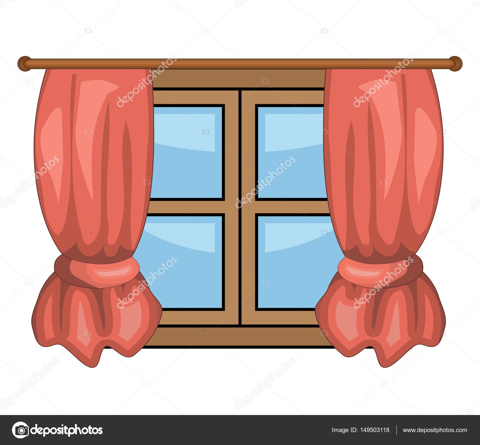 Cartoon Window With Curtains Vector Symbol Icon Design Beautiful Illustration Isolated On White Backgroun By Newelle