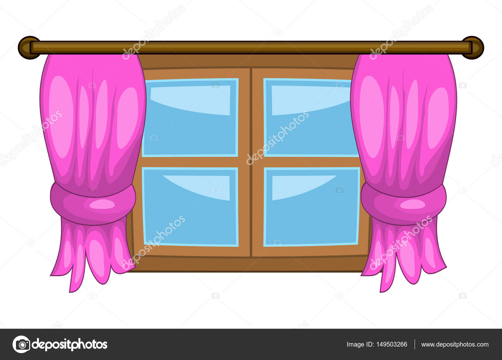 cartoon window with curtains vector symbol icon design. — Stock ... for Window With Curtains Illustration  555kxo