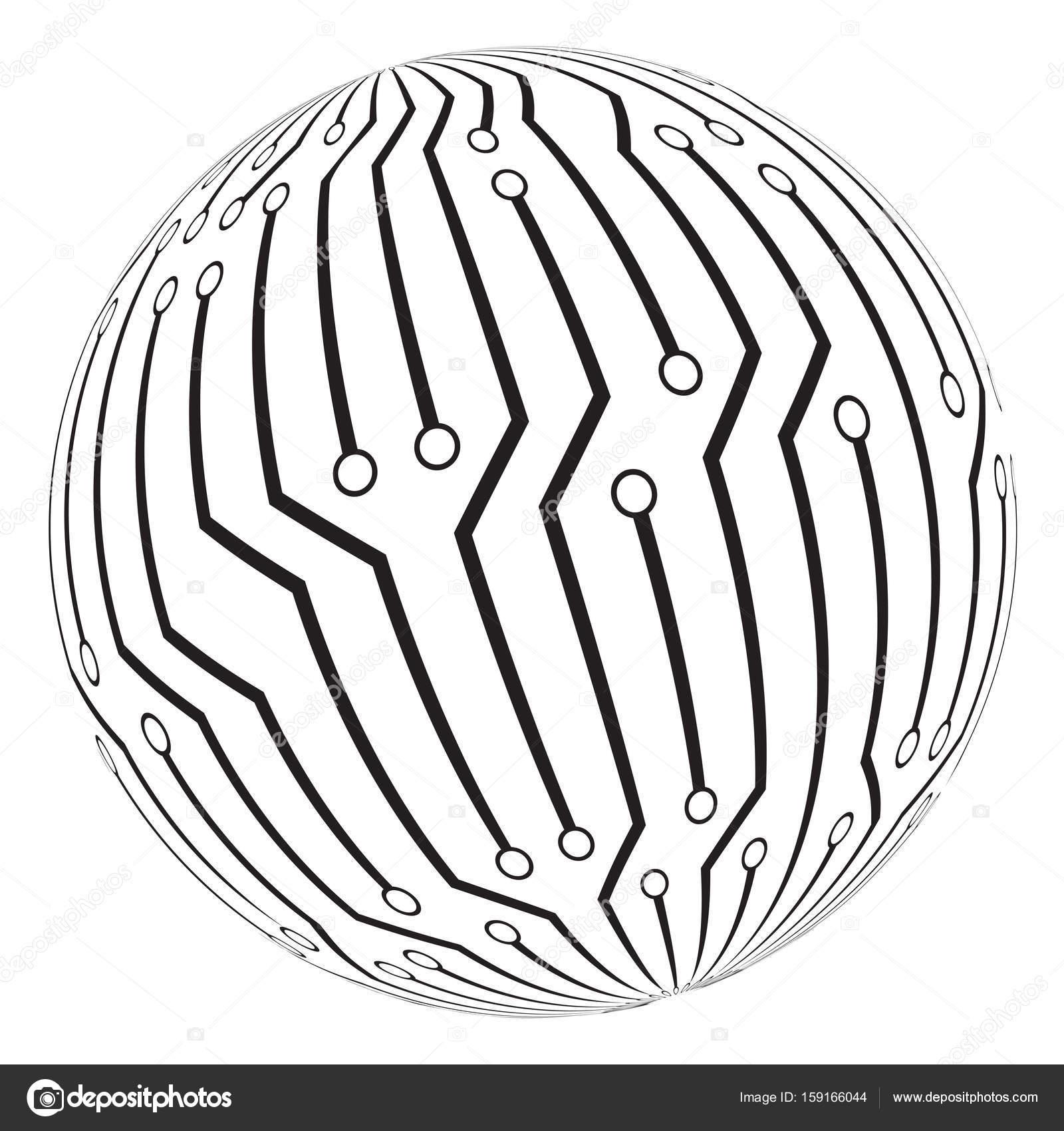 création de circuit imprimé globe logo vector symbole icône ...