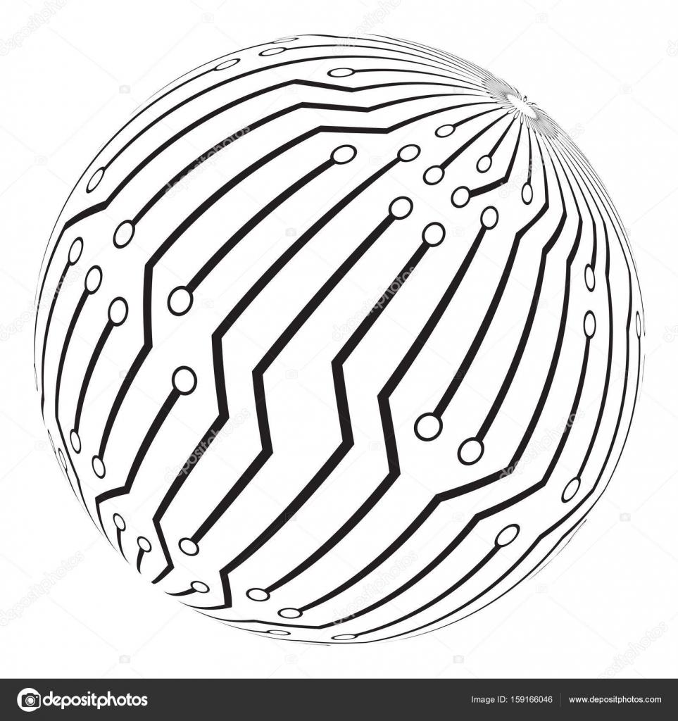 création de circuit imprimé globe logo vector symbole icône — Image ...